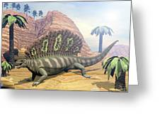 Edaphosaurus Dinosaur - 3d Render Greeting Card