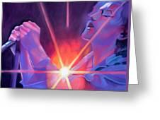 Eddie Vedder And Lights Greeting Card