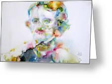 Edgar Allan Poe - Watercolor Portrait.4 Greeting Card