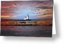 Edgewater Lighthouse Sunset Greeting Card