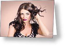 Edgy Hair Fashion Model With Brunette Hairstyle Greeting Card