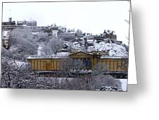 Edinburgh Castle And National Galleries Of Scotland In Winter Greeting Card