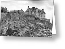 Edinburgh Castle Bw Greeting Card