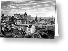 Edinburgh From Calton Hill.    Black And White Greeting Card