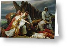 Edith Finding The Body Of Harold Greeting Card by Emile Jean Horace Vernet