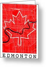 Edmonton Street Map - Edmonton Canada Road Map Art On Canada Flag Symbols Greeting Card