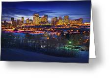 Edmonton Winter Skyline Greeting Card