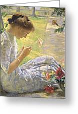 Edmund Charles Tarbell - Mercie Cutting Flowers 1912 Greeting Card