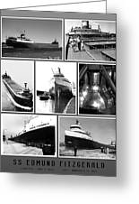 Edmund Fitzgerald Black And White Greeting Card