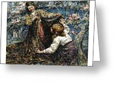 Edward Atkinson Hornel 1864 - 1933 The Butterfly Catchers Greeting Card