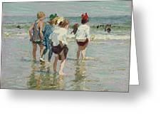 Edward Henry Potthast 1857 - 1927 Summer Day, Brighton Beach Greeting Card