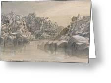 Edward Lear - River Pass Between Semi Barren Rock Cliffs Greeting Card
