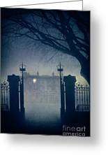Eerie Mansion In Fog At Night Greeting Card