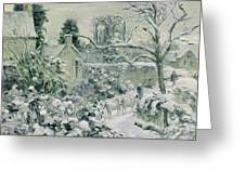 Effect Of Snow With Cows At Montfoucault Greeting Card