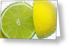 Effervescent Lime And Lemon By Kaye Menner Greeting Card