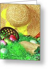 Eggs And A Bonnet For Easter Greeting Card