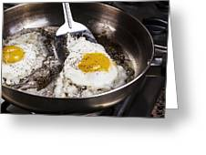 Eggs Cooked With Bacon Grease In Pan  Greeting Card