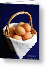 Eggs In A Wicker Basket. Greeting Card
