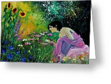 Eglantine With Flowers Greeting Card
