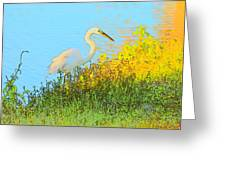 Egret In The Lake Shallows Greeting Card