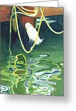 Egret On A Rope Greeting Card