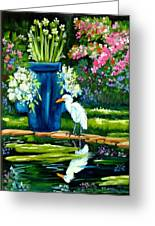 Egret Visits Goldfish Pond Greeting Card