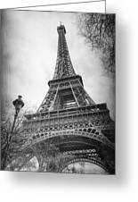 Eiffel Tower And Lamp Post Bw Greeting Card