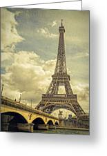 Eiffel Tower And Pont D'lena Vintage Greeting Card