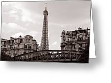 Eiffel Tower Black And White 3 Greeting Card