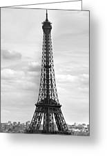 Eiffel Tower Black And White Greeting Card