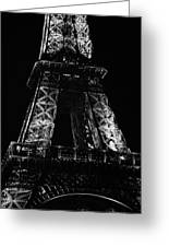 Eiffel Tower Illuminated At Night First And Second Decks Paris France Black And White Greeting Card