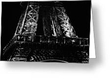Eiffel Tower Illuminated At Night First Floor Deck Paris France Black And White Greeting Card