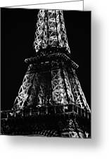 Eiffel Tower Illuminated Midsection At Night Paris France Black And White Greeting Card