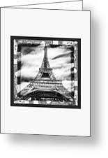 Eiffel Tower In Black And White Design II Greeting Card