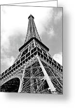 Eiffel Tower Sunlit Corner Perspective Paris France Black And White Greeting Card