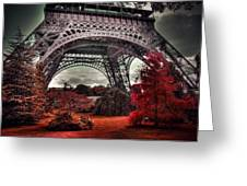Eiffel Tower Surreal Photo Red Trees Paris France Greeting Card