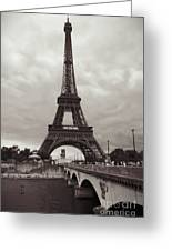 Eiffel Tower With Bridge In Sepia Greeting Card
