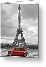 Eiffel Tower With Car. Black And White Photo With Red Element. Greeting Card