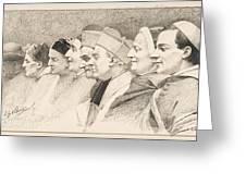 Eight Heads Of Ecclesiastics Greeting Card