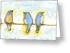 Eight Little Bluebirds Greeting Card