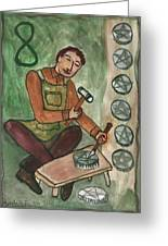 Eight Of Pentacles Illustrated Greeting Card