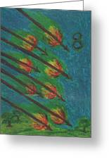 Eight Of Wands Illustrated Greeting Card