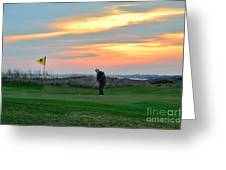 Eighteenth Green At Sunset Greeting Card