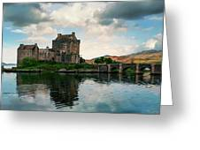 Eilean Donan Castle On A Cloudy Day Greeting Card