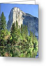 El Capitan Over The Merced River - Yosemite Valley Greeting Card
