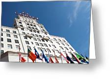 El Cortez With Flags Greeting Card