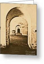 El Morro Fort Barracks Arched Doorways Vertical San Juan Puerto Rico Prints Rustic Greeting Card by Shawn O'Brien