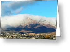 El Paso Franklin Mountains And Low Clouds Greeting Card