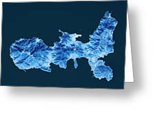 Elba Island Topographic Map Blue Color Top View Greeting Card