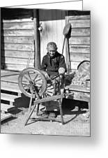 Elderly Woman Spinning Wool, C.1920s Greeting Card